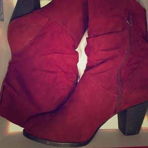 Wine faux suede booties